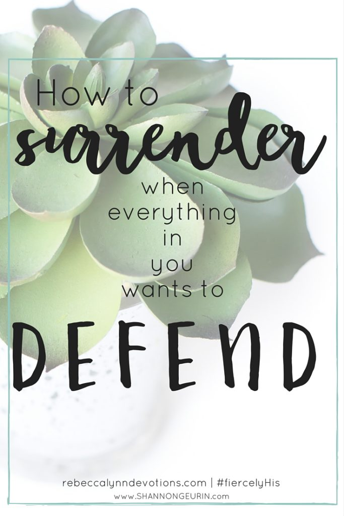 It's hard to surrender when you want to defend. And sometimes it's good to stand up against evil. But other times, God's will is for us to remain silent.