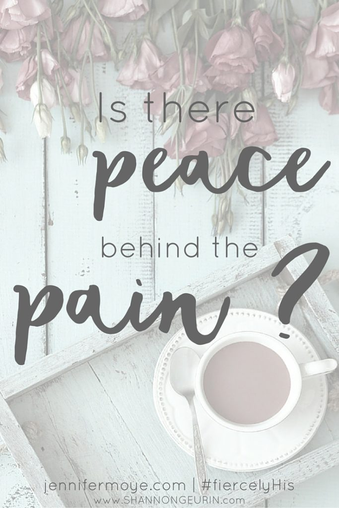 Is there peace behind the pain? Over 100 million Americans suffer from chronic pain. My Savior is no stranger to the pain I feel. Did He lay down and give in? No! He stood strong and pressed on in His Father's will for Him. I began to see . . . I should too.